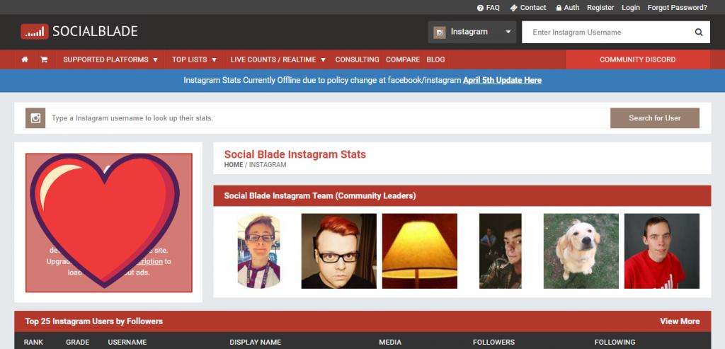 socialblade Instagram and social media tool