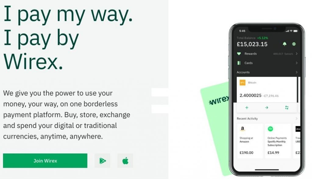 Wirex Cryptocurrency Wallets and Debit card