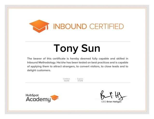 Hubspot Inbound certification program