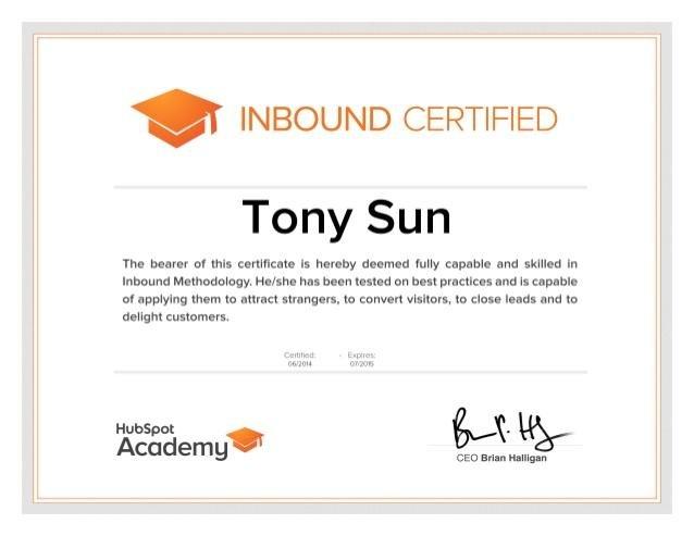 Hubspot Inbound certification program