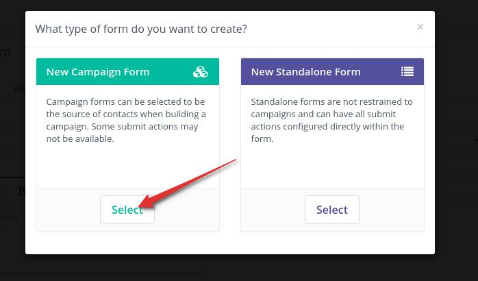 Create Campaign form for Automation campaign