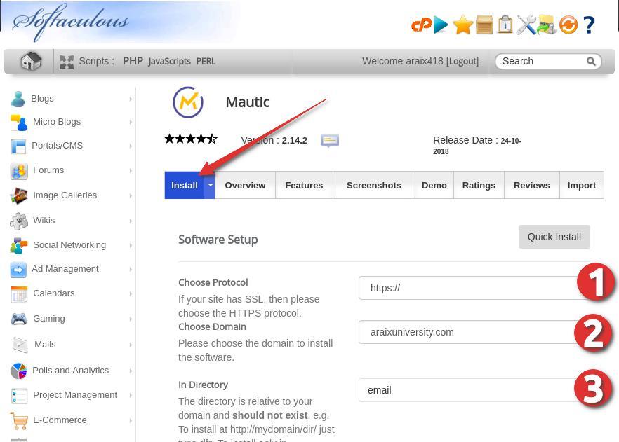 Install Mautic using Siteground Cpanel