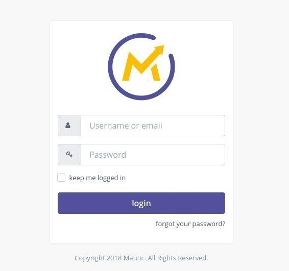 Mautic Free Autoresponder Login Screen